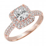 Betsy' Diamond Halo Engagement Ring in Rose Gold  - 31-V378ECR