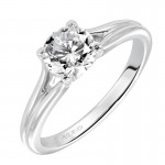 Lana' Solitaire Diamond Engagement Ring With Polished Band - 31-V408ERW
