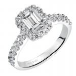 Genesis' Emerald Cut Diamond Halo Engagement Ring  - 31-V439EEW