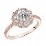 Priscilla' Double Halo Diamond Engagement Ring in Rose Gold - 31-V449ERR-E.00