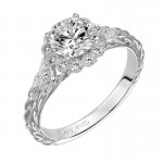 """Lila"" Diamond Halo Engagement Ring"