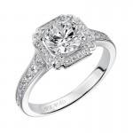 """Pilar"" Diamond Halo Engagement Ring"
