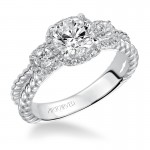 """Mandy"" 3 Stone Halo Prong Set Engagement Ring"