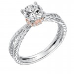 """Caitlin"" Classic Two Tone Solitaire Diamond Engagement Ring in White Gold"