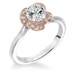 """Josephina"" Contemporary Two Tone Solitaire Diamond Engagement Ring in White Gold"