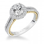 """""""Emmeline"""" Diamond Prong Set Halo Engagement Ring"""