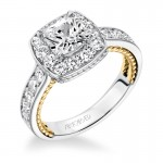 """Kenzie"" Diamond Two Tone Halo Engagement Ring"