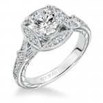 """Lorraine"" Hand Engraved Diamond Halo Engagement Ring"