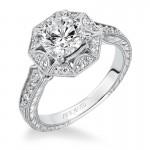 """Wihelmina"" Halo Hand Engraved Diamond Engagement Ring"