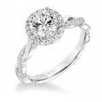 """Kinsley"" Contemporary Diamond Halo Engagement Ring"