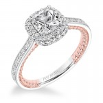 """""""Vita"""" Diamond Halo with Two Tone Rope Detail Engagement Ring"""