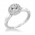 """Winnie"" Contemporary Diamond Halo Engagement Ring"