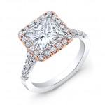 BRC Custom Made 18K White Gold Halo Style Wedding Ring