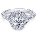 14k White Gold Contemporary Oval Cut Engagement Ring