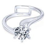 14k White Gold Contemporary Engagment Ring