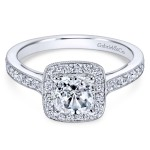 Vintage 14k White Gold Cushion Cut Halo Diamond Engagement Ring
