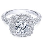 14K White Gold Contemporary Double Halo Engagement Ring