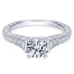 14k White Gold Victorian Pave Diamonds Engagement Ring