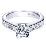 14K White Gold European-Style Shank Engagement Ring