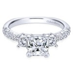14k White Gold Contemporary Three-Stone Prong Engagement Ring