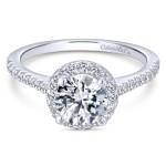 14k White Gold Mesmerizing Halo Contemporary Engagement Ring
