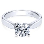 14K White Gold Contemporary Solitaire Engagement Ring