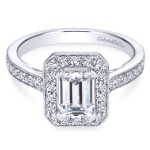 14K White Gold Victorian Emerald Cut Engagement Ring