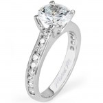 18 KARAT WHITE GOLD WEDDING RING with diamonds - R461-1 - Michael M