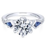 18k White Gold Round 3 Stones Diamond A Quality Sapphire Engagement Ring