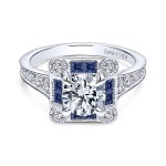Vintage 18k White Gold Round Halo Diamond A Quality Sapphire Engagement Ring