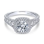 Vintage 18k White Gold Round Double Halo Diamond Engagement Ring