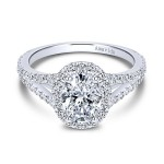 18k White Gold Amavida Oval Halo Diamond Engagement Ring