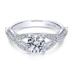 Vintage 18k White Gold Round Twisted Diamond Engagement Ring