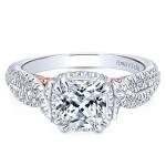18k White/Rose Gold Cushion Cut Halo Diamond Engagement Ring