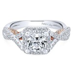 18k White/Rose Gold Princess Cut Halo Diamond Engagement Ring