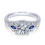 Vintage Platinum Amavida Round 3 Stones Halo Diamond A Quality Sapphire Engagement Ring