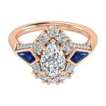18k Rose Gold Pear Shape Halo Diamond A Quality Sapphire Engagement Ring