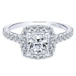 18k White Gold Amavida Princess Cut Halo Diamond Engagement Ring