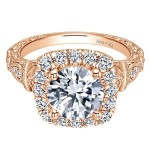 Vintage 18k Rose Gold Amavida Round Halo Diamond Engagement Ring