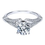 Vintage 18k White Gold Round Split Shank Diamond Engagement Ring