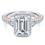18k White/Rose Gold Emerald Cut Halo Diamond Engagement Ring