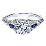 Vintage Platinum Round Straight Diamond A Quality Sapphire Engagement Ring