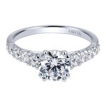 18k White Gold Round Straight Diamond Engagement Ring