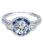 Vintage Platinum Round Halo Diamond A Quality Sapphire Engagement Ring