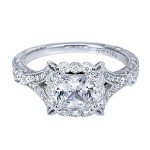 Vintage Platinum Princess Cut Halo Diamond Engagement Ring