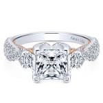 18k White/Rose Gold Princess Cut 3 Stones Diamond Engagement Ring