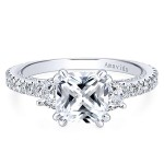 18k White Gold Cushion Cut 3 Stones Diamond Engagement Ring