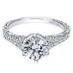 Vintage Platinum Round Straight Diamond Engagement Ring