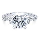 18k White Gold Round 3 Stones Diamond Engagement Ring
