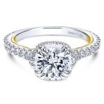 18k Yellow/white Gold Round Halo Diamond Engagement Ring